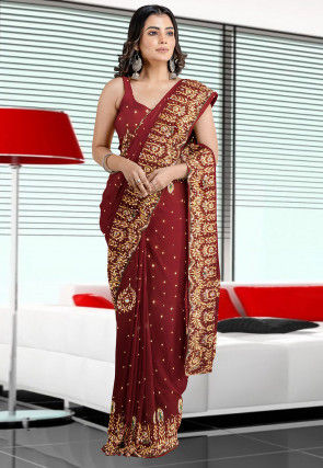 Hand Embroidered Georgette Saree in Wine