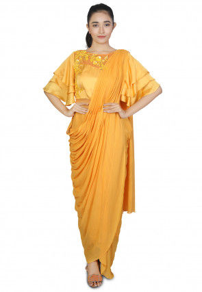 Embroidered Georgette Saree Style Gown in Mustard
