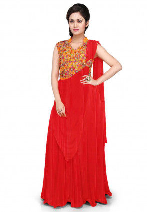 Hand Embroidered Georgette Saree Style Gown in Red and Mustard