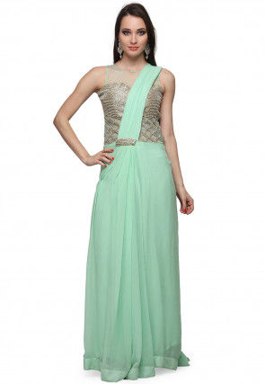 Hand Embroidered Georgette Saree Style Gown in Sea Green