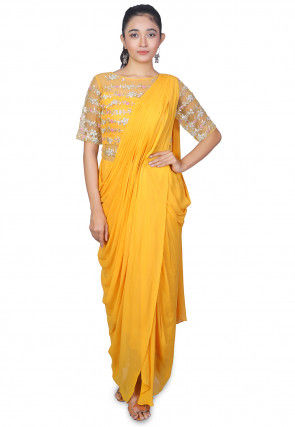 Embroidered Georgette Saree Style Gown in Yellow