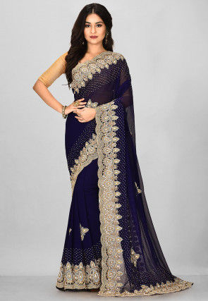 Hand Embroidered Georgette Scalloped Saree in Navy Blue