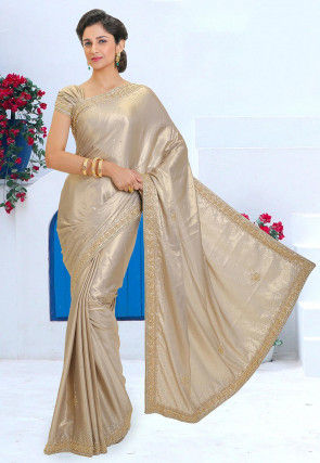 Hand Embroidered Georgette Shimmer Saree in Light Beige