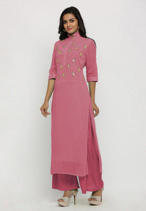 Hand Embroidered Georgette Straight Kurta Set in Dusty Pink