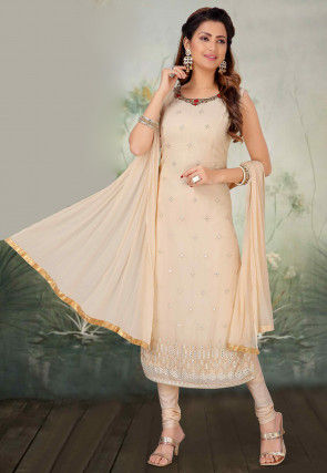 Hand Embroidered Georgette Straight Suit in Beige