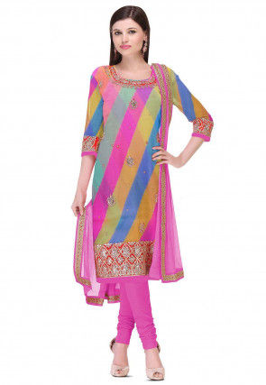 Hand Embroidered Georgette Straight Suit in Multicolor