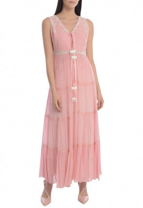 Hand Embroidered Georgette Tiered Kurta Set in Pink