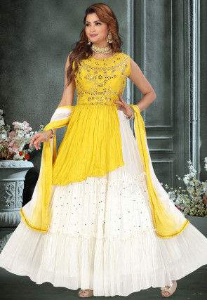Hand Embroidered Georgette Tiered Lehenga in Off White