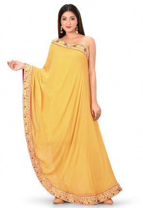 Hand Embroidered Georgette Toga Maxi Dress in Mustard