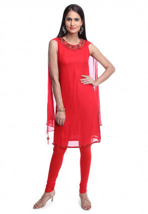Hand Embroidered Georgette Tunic Set in Red