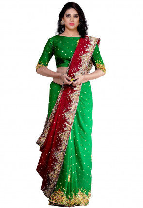 Hand Embroidered Half N Half Georgette Saree in Red and Green