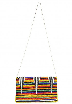 Hand Embroidered Jute Flap Clutch in Multicolor