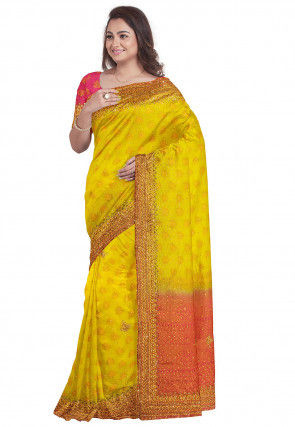 Hand Embroidered Kachipuram Saree in Mustard