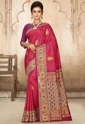 Hand Embroidered Kanchipuram Pure Silk Saree in Dark Pink