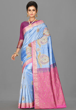 Hand Embroidered Kanchipuram Pure Silk Saree in Light Blue