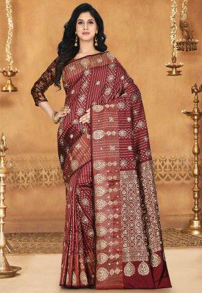 Hand Embroidered Kanchipuram Pure Silk Saree in Maroon