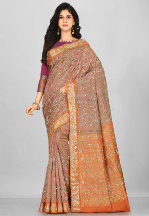 Hand Embroidered Kanchipuram Pure Silk Saree in Old Rose