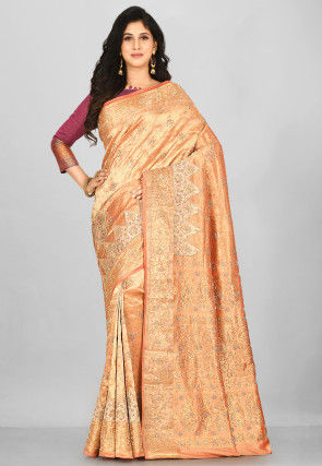 Hand Embroidered Kanchipuram Pure Silk Saree in Peach