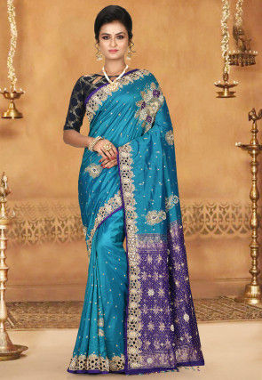 Hand Embroidered Kanchipuram Pure Silk Saree in Teal Blue