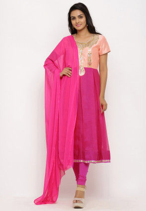 Hand Embroidered Kota Silk A Line Suit in Fuchsia and Peach