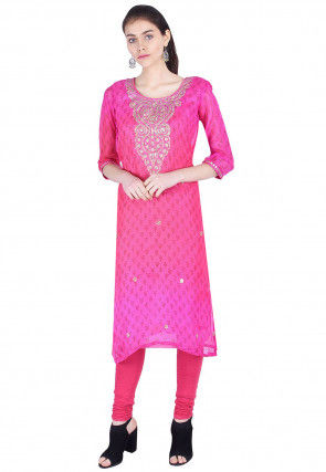Hand Embroidered Kota Silk Straight Kurta in Pink Ombre