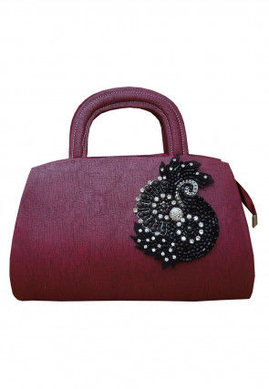 Hand Embroidered Leather Hand Bag in Magenta