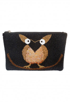 Hand Embroidered Leather Pouch in Black