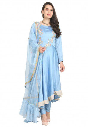 Hand Embroidered Modal Satin Anarkali Suit in Light Blue