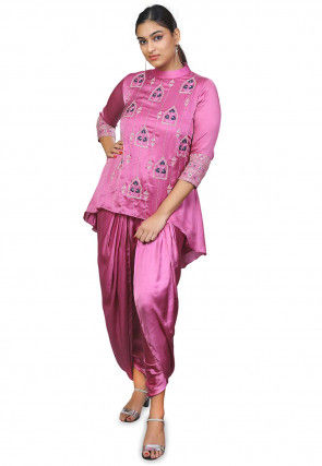 Hand Embroidered Modal Satin Asymmetric Top Set in Pink