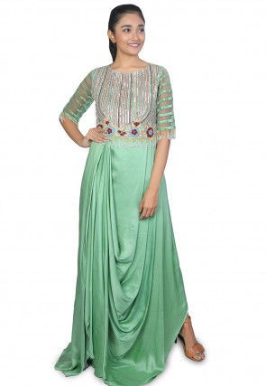 Embroidered Modal Satin Cowl Style Gown in Sea Green