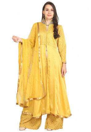 Hand Embroidered Modal Satin Pakistani Suit in Yellow
