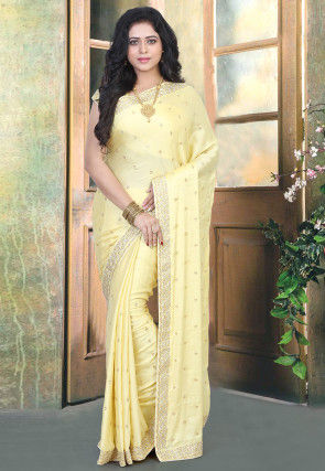 Hand Embroidered Modal Satin Saree in Light Yellow