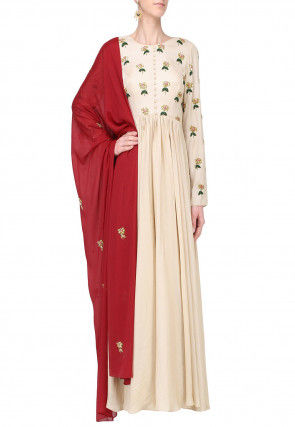 Hand Embroidered Muslin Silk Abaya Style Suit in Light Beige