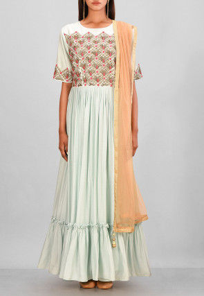 Hand Embroidered Muslin Silk Gown in Sky Blue