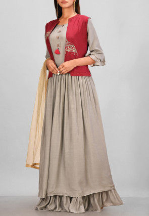 Hand Embroidered Muslin Silk Jacket Style Gown in Grey and Maroon