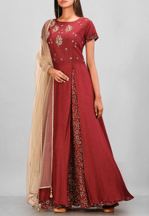 Hand Embroidered Muslin Silk Layered Gown in Maroon