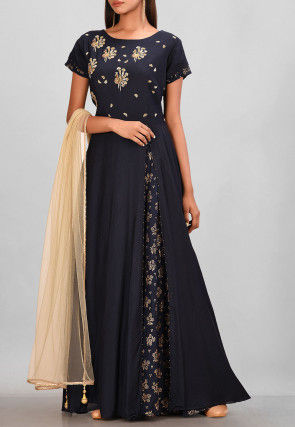 Hand Embroidered Muslin Silk Layered Gown in Navy Blue