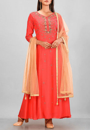Hand Embroidered Muslin Silk Long Kurta in Coral Red
