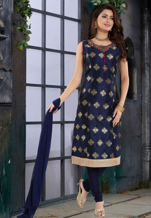 Hand Embroidered Neckline Art Silk Straight Suit in Navy Blue