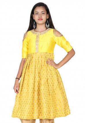 Hand Embroidered Neckline Chanderi Silk Pleated Kurti in Yellow