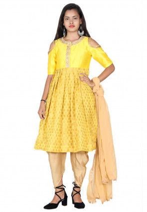Hand Embroidered Neckline Chanderi Silk Punjabi Suit in Yellow