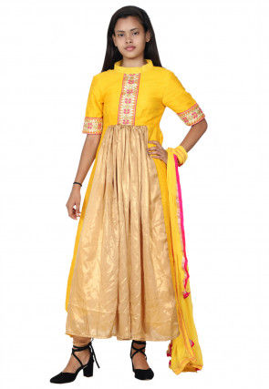 Hand Embroidered Neckline Georgette A Line Suit in Yellow and Golden