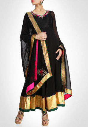 Hand Embroidered Neckline Georgette Anarkali Suit in Black