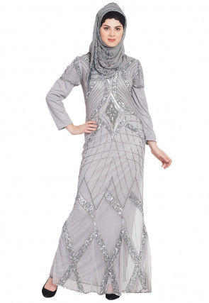 Hand Embroidered Net Abaya in Light Grey