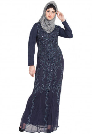 Hand Embroidered Net Abaya in Navy Blue