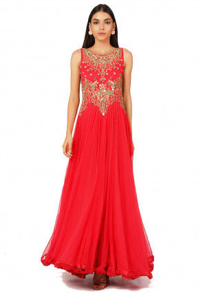Hand Embroidered Net Abaya Style Suit in Coral Red