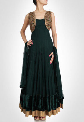 Hand Embroidered Net Abaya Style Suit in Dark Green