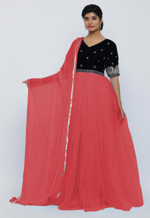 Hand Embroidered Net Abaya Style Suit in Dark Peach and Dark Blue