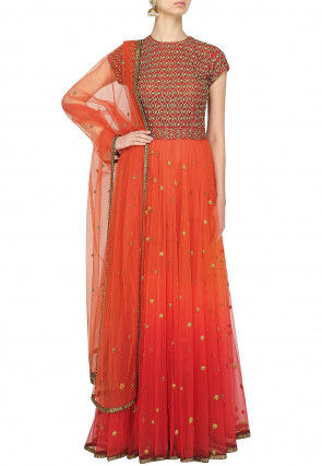 Hand Embroidered Net Abaya Style Suit in Orange and Red