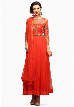 Hand Embroidered Net Abaya Style Suit in Orange